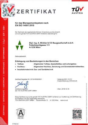 Zertifikat der ISO 14001
