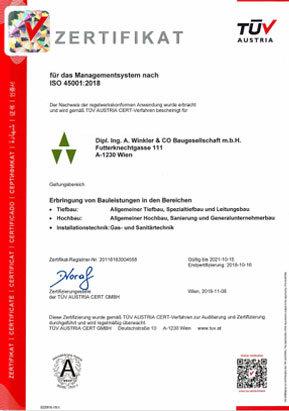 Zertifikat der ISO 45001