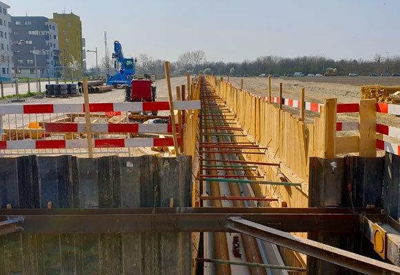 Baustellenfoto Kanalbau Seestadt