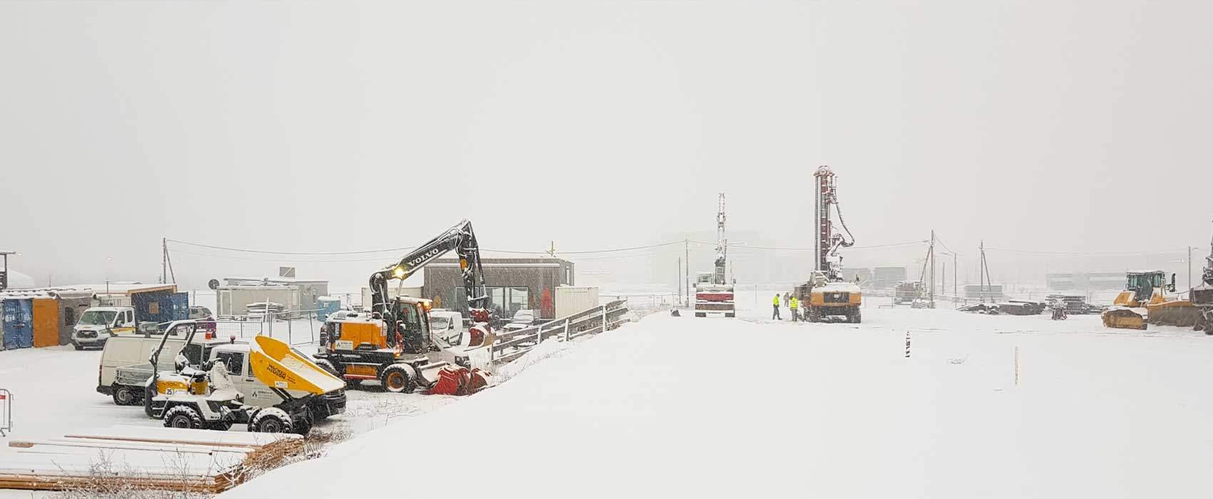 Foto einer Winterbaustelle in Wien